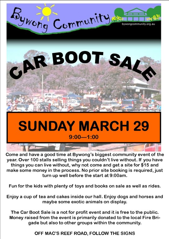 Bywong Car Boot Sale